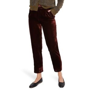 Madewell velvet taper pleated pull-on pants- M